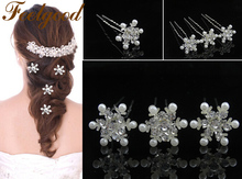 Feelgood 200pcs/lot Crystal Pearl Flower Bridal Hair Pins Wedding Jewelry Snowflake Hair Accessories For Women Wholesale(China)