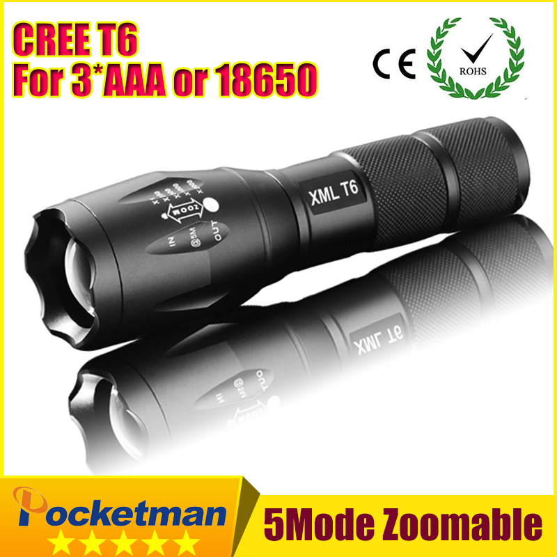E17 CREE XM-L T6 3800Lumens cree led Torch Zoomable cree LED Flashlight Torch light For 3xAAA or 1x18650 Free shipping ZK94(China (Mainland))