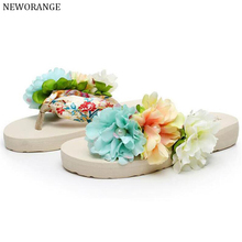2017 Bohemia Flowers Ladies Flip Flops Beach Slippers Platform Women Sandals Slip On Summer Women Shoes Big Size 35~42 WSS530