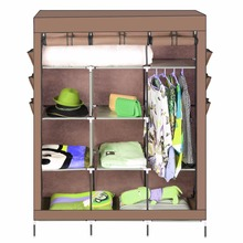 [Homdox] Portable Closet Storage Organizer Wardrobe Clothes Rack With Shelves and Hanger 3 Colors