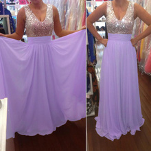 New Arrival Lavender Prom Dresses Luxury Long V Neck Beaded Chiffon Party Evening Gowns 2016 Fast Shipping Cheap Dress For Women