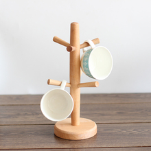 2017 Creative 1pcs Beech Wood Kitchen Shelving Cup Holder Cup Rack Six Prong Wooden Kitchen Storage Rack