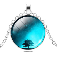 Blue Sky Galaxy Choker Statement Necklace Glass Cabochon Pendant Necklace Chain Universe Maxi Necklace For Women Jewelry Anime