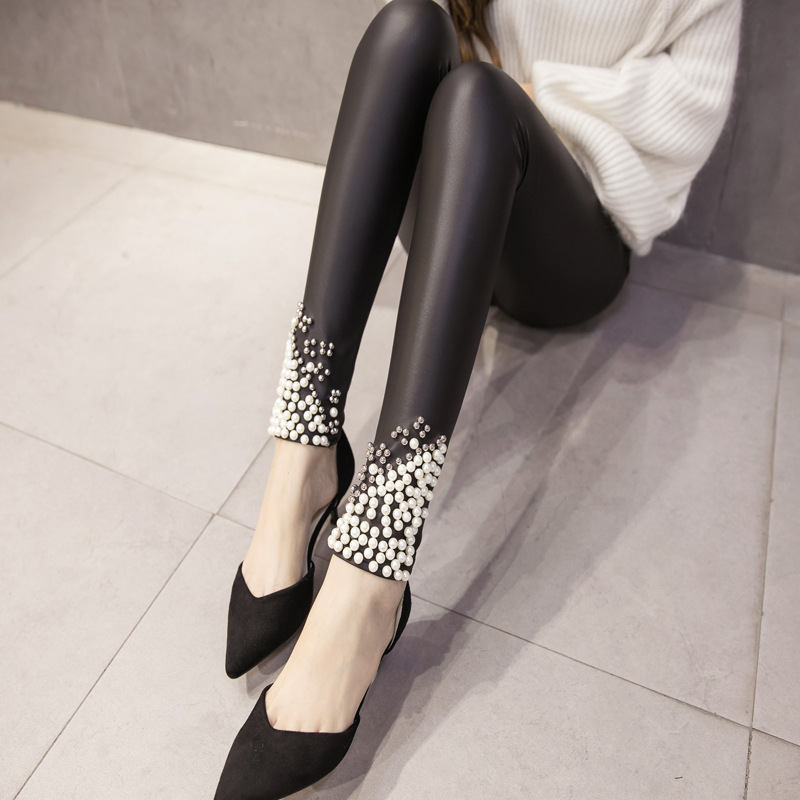 New-Brand-Women-Leggings-Faux-Leather-Thick-Warm-Legging-High-Waist-Stretch-Skinny-Beads-Pearl-Pencil