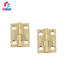 20pcs 1'' Brass Mini Door Hinges 1mm Thickness Brass Hinges for Furniture Cabinet Kitchen Door Butt Hinges(China)