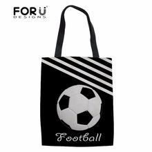 5efa9b14bbf7 FORUDESIGNS Shopping Bag Women 3D Foot Balls Printing Female Shoulder Bags  for Girls Large Linen Tote Bag Canvas Handbag Ladies
