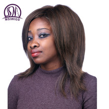 MSIWIGS Medium Long Straight Wig High Temperature Fiber Hair Dark Brown Synthetic Wigs for Black Women