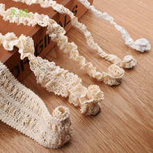 Knitted Cotton Stretch Lace Ribbon Beige Color,5 Yard/Piece,DIY Handmade Accessories,Craft & Gift Packing/Child Dress/Decoration(China)