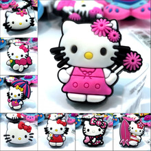 1Pcs Hello Kitty PVC Shoe Charms Shoe Accessories Decoration,Shoe Buckles Fit Bracelets With Holes Gift,Children Party Gift