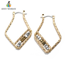 SEXY WOMAN New Vintage Gold Color large Geometric Earrings Women Fashion Creative Natural Stone earrings punk Jewelry Brincos(China)