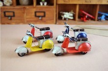 Tin Cars Roman Holiday Vespa Scooter Retro Iron Handmade Car Models Display Decoration