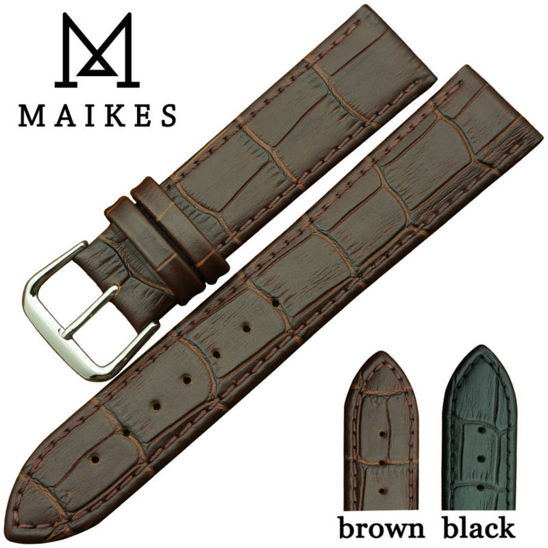 MAIKES New Arrival Soft Genuine Leather Watch Strap stainless Steel  Buckle Sweatband Wrist Watch Band<br><br>Aliexpress