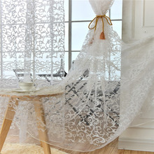European Style Jacquard Leaf Design Fabrics Sheer Curtains For Living Roon Balcony Woven Gauze Bedroom tulle window R004