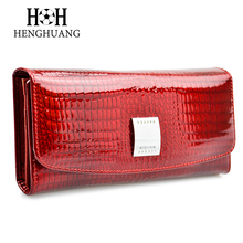Genuine Leather Women Wallets and Purses Alligator Calf Leather Female Purse Three Fold Large Capacity Long Wallet Luxury Brand(China)