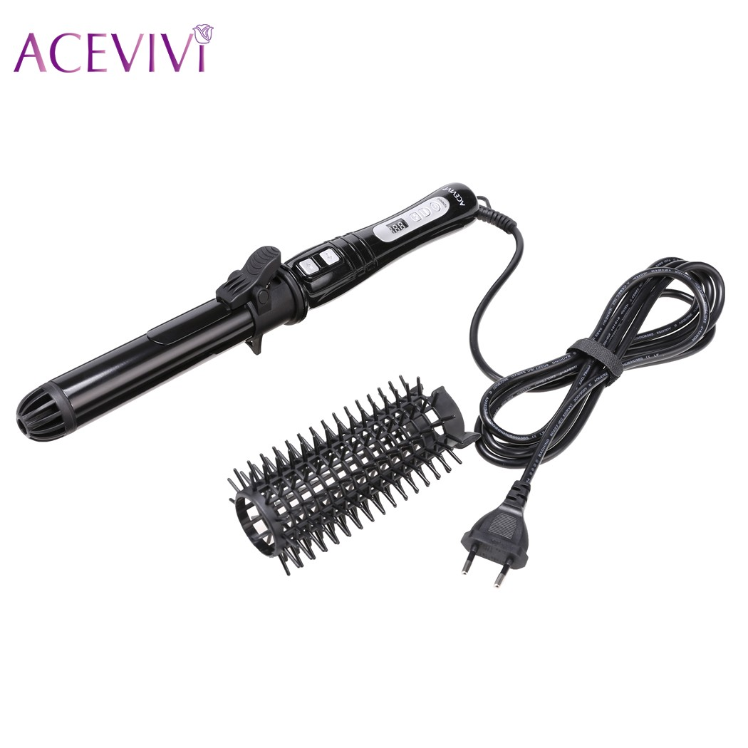 ACEVIVI LCD Professional Electric Hair Brush Curler Ceramic Styler Hair Waver Curler Roller Hair Styling Tools Hair Curling Iron<br>