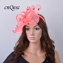 NEW Wholesale Attractive multiple color Coral black Sinamay fascinator hat for Melbourne Cup,Ascot Races,kentucky derby,wedding.
