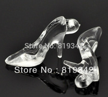 Free Shipping 30pcs Clear Acrylic High-heel Shoe Charm Pendants 38x21x12mm Findings Wholesale