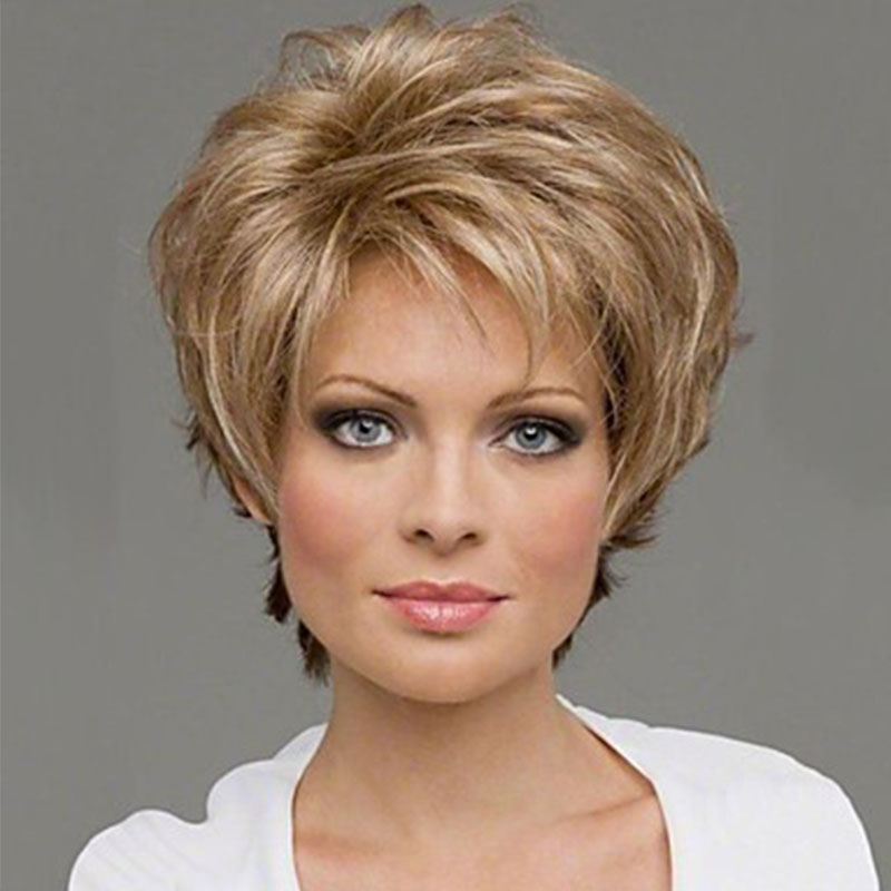 2017 Women Fashion Short Curly Cosplay Light Brown Color Synthetic Hair Wigs<br><br>Aliexpress