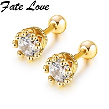 Fate Love Romatic Style Gold Color And White Colour Stud Earrings Inlaying Bright Zircon Earrings For Women Party Jewelry FL671