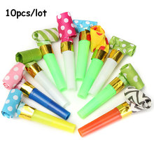 10Pcs Small Colorful Funny Whistles Kids Childrens Birthday Party Dots Blowing Dragon Blowout Baby Birthday Supplies Toys gift(China)