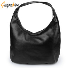 Guapabien Women Shoulder Bags Black PU Leather Bags Solid Hobos Designer Handbags Ladies Messenger Bag For Women Bolso Bags