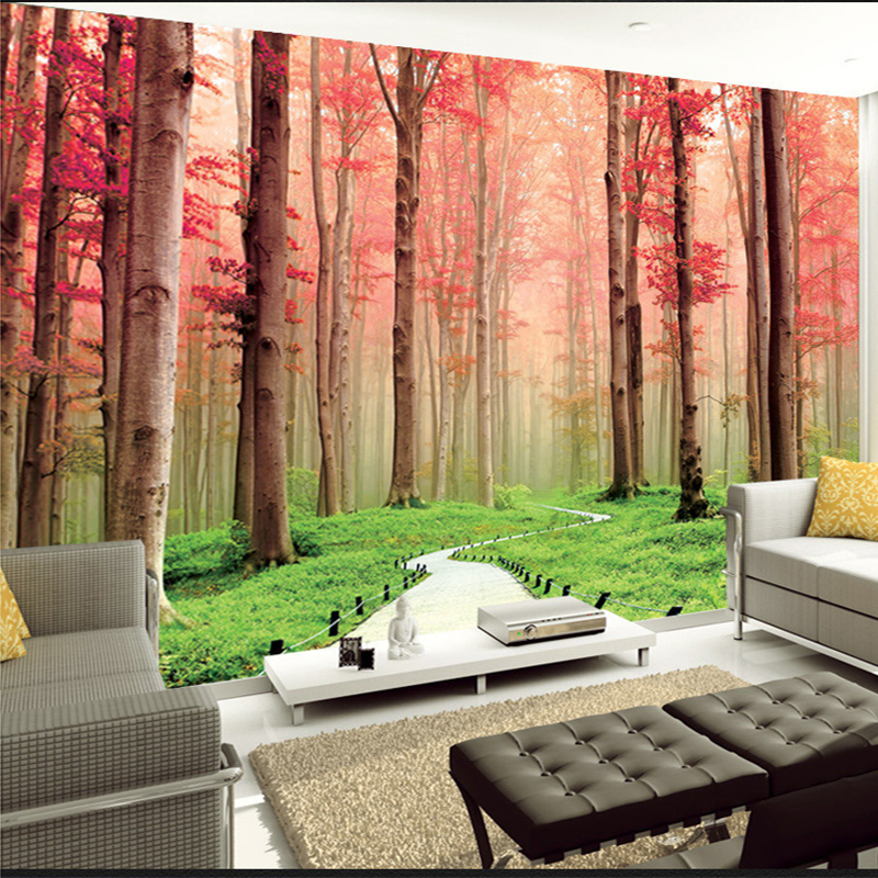 Two Colors 3D Wall Mural Wallpaper Foresr Landscape Bedroom Home Decor Custom Photo Wall Paper Natural Mural Wall Contact Papers<br><br>Aliexpress