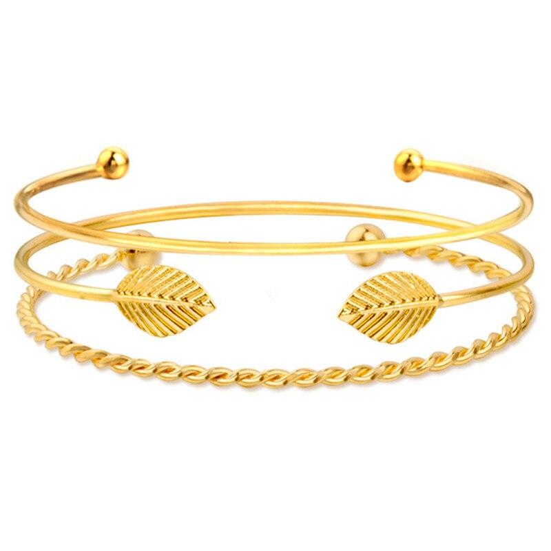 3PCS/Set Leaves Open Cuff Bangle Set Wire Bangles & Bracelets For Women Elegant Korean Fashion Gold Color Jewelry Gifts