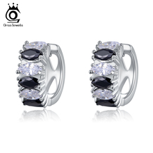 ORSA JEWELS Circle Design Black&Clear Marquise Cut Austrian Cubic Zirconia Crystal Jewelry Women Earrings Stud Earring OME07(China)
