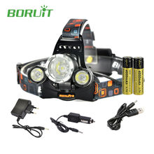 High lumen Boruit rj-5000 Flashlight head Torch Headlamp Headlight 6000 Lumens 3L2 Led lamp with 18650 battery and charger(China)
