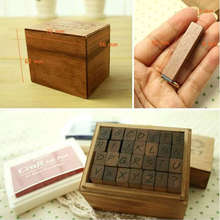 ANTIQUE Alphabet STAMP Handwriting UPPER/capital+ Wooden Box Symbols Rubber Stamp Gift For Kids 28pcs/set,flexible letters stamp