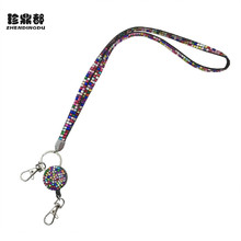 New 2017 Necklace Bling Rhinestone Lanyard Retractable Strap ID Badge Reel Phone Key Holder Sweater Chain for women girl jewelry(China)