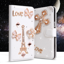 "Luxury Rhinestone cases For Alcatel Pop 4+ Pop 4 Plus 5.5"" Wallet PU Leather Cover Filp Card Slot Holder Stand Diamond Phone Bag(China)"