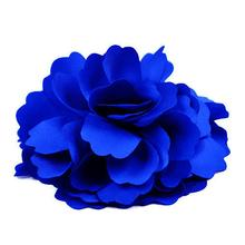 HTHL Silk Flower Hair Clip Wedding Corsage Flower Clip 8cm - Dark Blue(China)