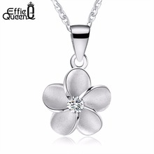 Effie Queen New Women 925 Sterling Silver Chain Simple Flower Pendant Choker Necklace Jewelry Female BN45(China)