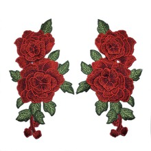 1Pair NEW Rose Flowers Embroidered Patches Iron on for Clothing Applique DIY Sewing(China)
