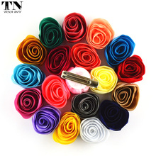 "60PC 1.55"" Chiffon Fabric Flowers Hairpins Rose Bud Solid Floral Hair Clips For Baby Girls DIY Hair Accessories Wedding Headwear"