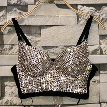 Bra Cropped-Top Bustier Rhinestone-Bead Pearls Diamond Bralette Night-Club Plus-Size