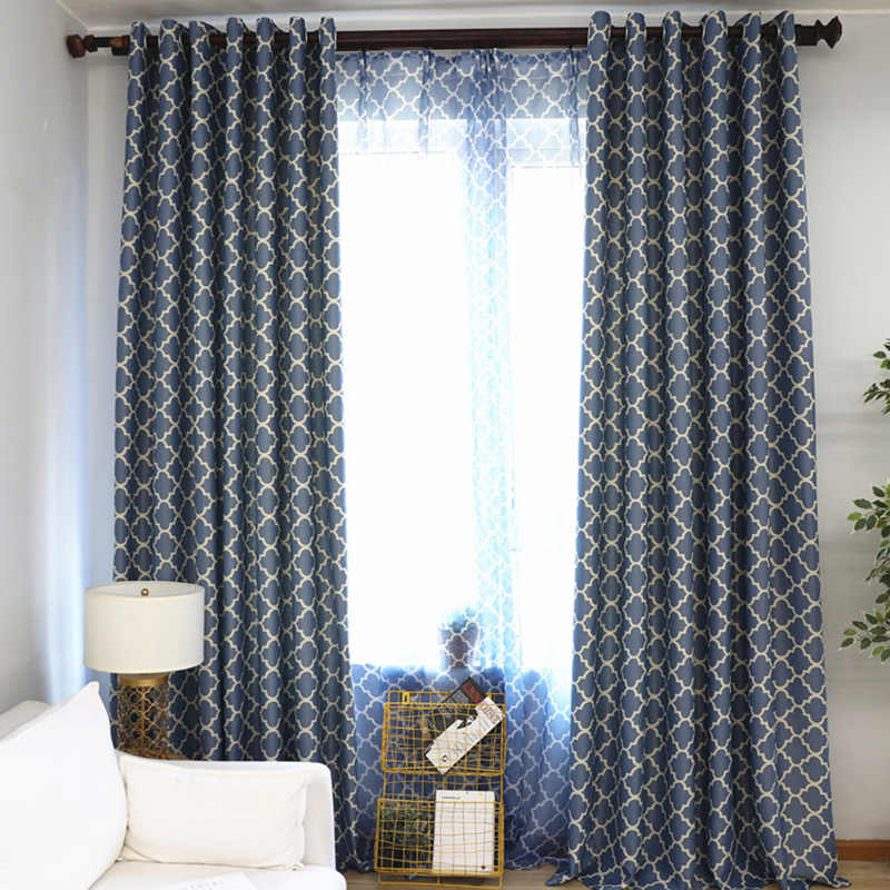 American Style Blue/ Green Tulle Panels Rideaux Window Bedroom Geometeric Regular Smei-Shade Curtains For Living Room