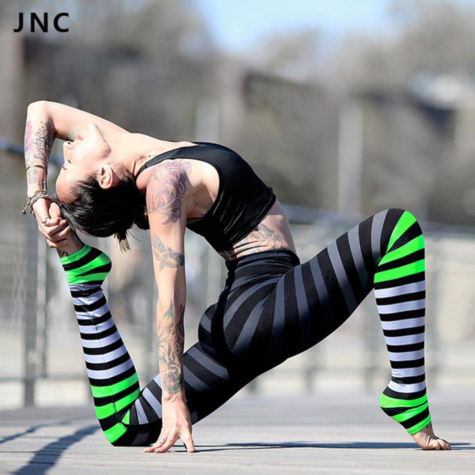 JNC New Colorful Striped Yoga Leggings Black&amp;Grey&amp;Green Print Compression Yoga Pants Hight Waist Running Workout Clothes S/M/L<br><br>Aliexpress