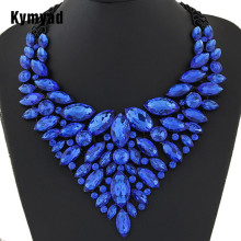 Kymyad Big Women Collier Femme Necklaces Pendant Blue Red Statement Bijoux New Crystal Jewelry Choker Maxi Boho Vintage Jewellry(China)