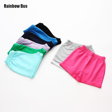 Rainbow Bus 2017 New Candy Color 100% Cotton Girls Shorts Hot Summer Boys Beach Pants Shorts Kids Trousers Children Casual Pants