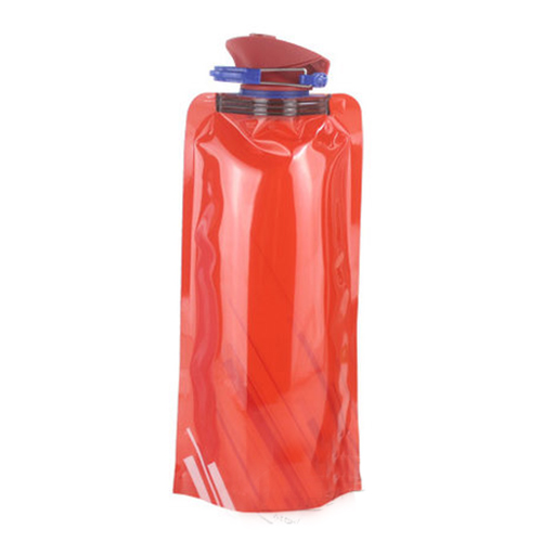 UESH-1pc 700 ML Foldable reusable water bag Drink bottle Free BPA Bicycle bottle Black