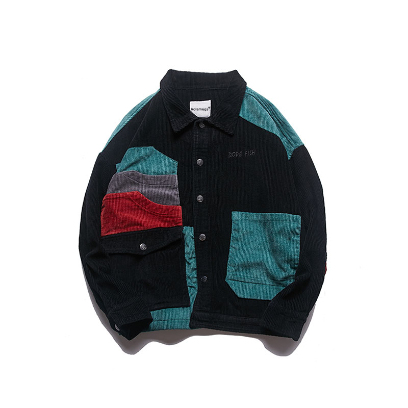 Aolamegs Jacket Men Corduroy Patchwork Men\`s Jacket Pockets High Street Fashion Casual Outwear Men Coat 2018 Autumn Streetwear (15)