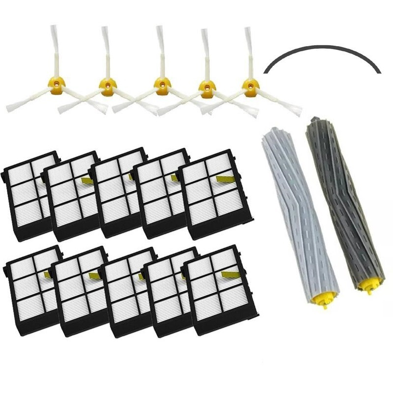 1 Tangle-Free Debris Extractor Set &amp; SideBrushe &amp; Hepa Filter For iRobot Roomba 800 900series 870 880 980 Vacuum Cleaning Robots<br>