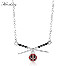 HANCHANG Jewelry Deadpool Choker Necklace Metal Deadpool mask Super Hero Sword Pendant Necklace Men Women Gift Movie Anime