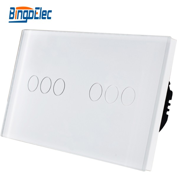 European wall switch,6gang luxury tempered glass panel home light switch, AC110-250V Hot Sale<br>