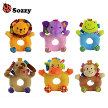 Sozzy 6 Styles Baby Cheerful Rocking Toys Crinkle Sound Soft Gentle Rattle Plush Toy Cute Animals Lion Elephant Frog Monkey 0M+ - Shen Yuan Store store