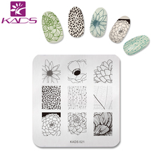 KADS NEW Gorgeous Lotus Flower Nail Print Stencil Nail Art Stamp Plates Nail Template DIY Polish Stencil Nail Tools(China)