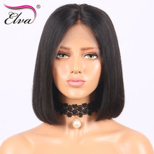 Short Lace Front Human Hair Wigs For Black Women Brazilian Remy Elva Hair Straight Human Hair Bob Wigs Middle Part Pre Plucked(China)
