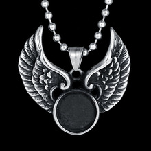 Top Quality 316L Stainless Steel Angel Wings Pendant Necklace Punk Charms Jewelry Christmas Gifts For Father Boy Friend
